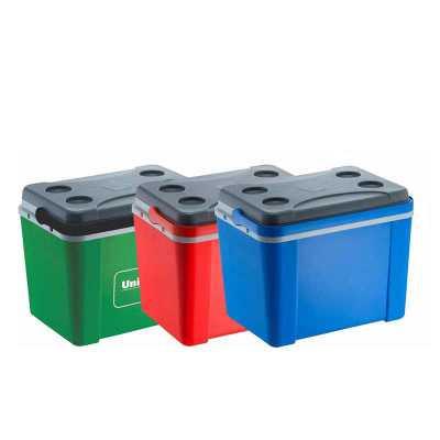 Caixa térmica 12 litros com capacidade para até 20 latinhas de 350 ml.  Voce faz as combinações de cores:  CORES EM LINHA CORPO EXTERNO: AZUL, VERMELH... - Brindes Curitiba