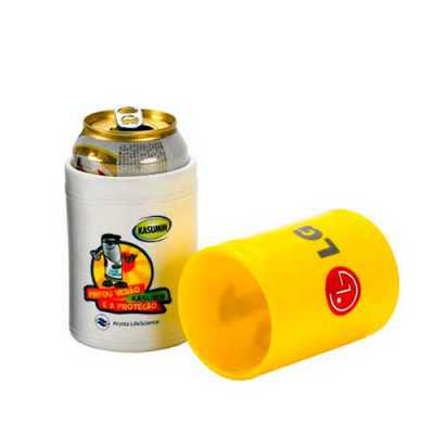Porta latas 350 ml., produzido em polietileno. Produto personalizado em silk 01 cor. ou rotulo em adesivo redondo de 7 cm de diametro sem limite de co...