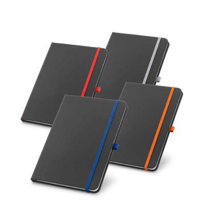zimi-brindes - Caderno capa dura. C. sintético. Com porta esferográfica e 80 folhas pautadas.