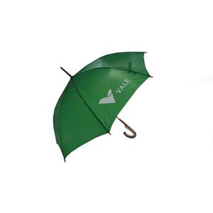 Guarda-chuva, tecido em nylon resinado e cabo curvo em madeira - Zimi Brindes