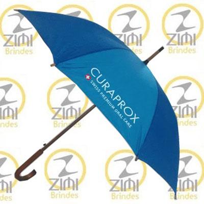 Zimi Brindes - Guarda-chuva modelo colonial, 1.20m, cabo curvo em madeira, acionamento automático, tecido nylon resinado, disponível em diversas cores