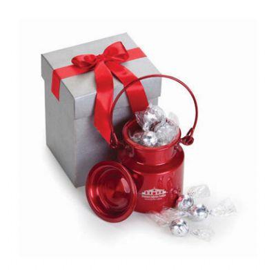 Beetrade Gift - Kit bomboniere com uma lata de alumínio estilo leiteira com alça, 12 unidades de bombons de chocolate e 1 caixa para presente de papelão rígido cinza...