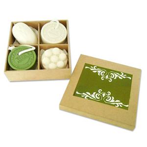 - Kit de sabonetes personalizado composto por um sabonete mousse, um sabonete massageador, dois sabonetes 100% artesanal em caixa MDF crua com divisória...