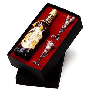 Kit Licor africano Amarula 750ml, 2 cálices e 2 bombons