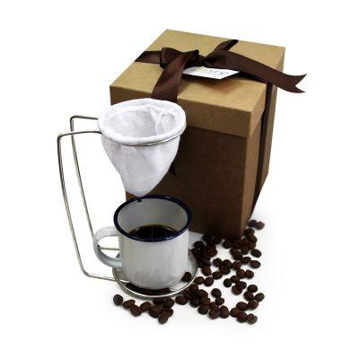 Beetrade Gift - Kit com caixa para presente, uma xícara de alumínio 90ml e mini coador.