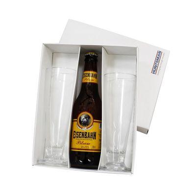 Beetrade Gift - Caixa para presente com uma garrafa de cerveja Eisenbahn 330ml e 2 tulipas de vidro para cerveja. Sua marca oferecendo bem estar para os seus clientes...