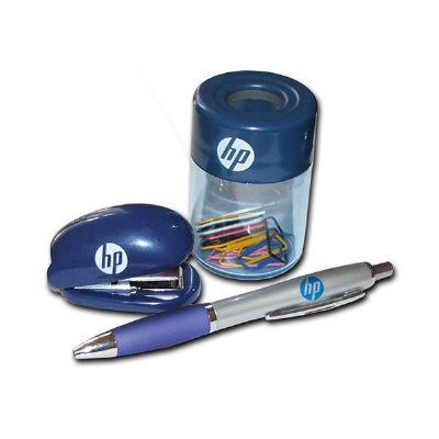 Beetrade Gift - Kit Escritório personalizado com porta clips, mini grampeador e uma caneta.