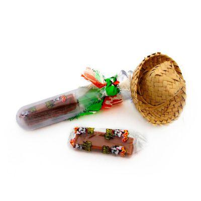 Beetrade Gift - Kit festa junina tubinho de doce de leite, composto por 1 tubete em acrílico com tampa prata, 2 doces de leite, 01 mini chapéu de palha, tecido para e...