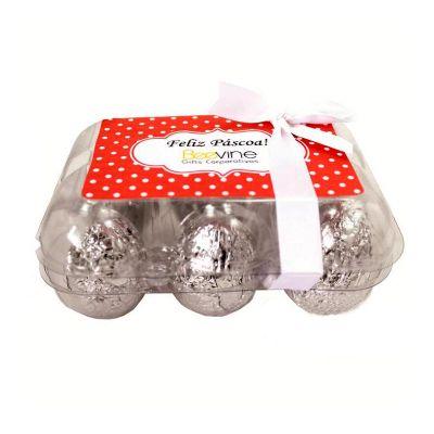 Kit Páscoa composto por: 6 ovos de chocolate pequeno, 1 caixa de ovo em acetato e uma personalização inclusa