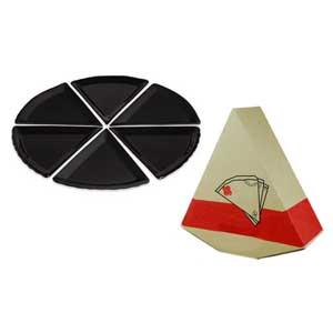 beetrade-gift - Kit Pizza com embalagem personalizada, seis pratos e disponível nas cores branca e preta.