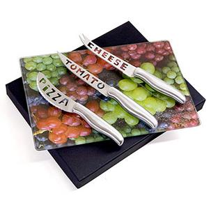 Beetrade Gift - Caixa para presente com 3 facas para queijo e uma tábua de vidro. Sua marca sempre próxima do cliente!