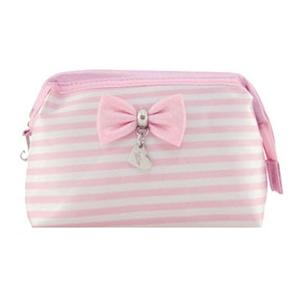 Beetrade Gift - Kit Dia das Secretárias - Nécessaire listrada rosa.