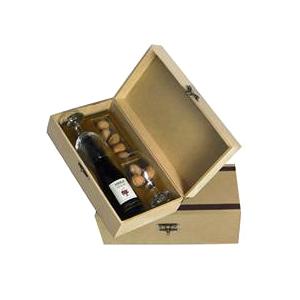 Beetrade Gift - Kit vinho Seleção 375ml com 2 taças, pacote de nozes com 100g e caixa de MDF crua.