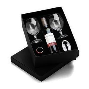 beetrade-gift - Caixa para presente com vinho chileno 375ml, 2 Taças, anel salva gotas e cortador de lacre.
