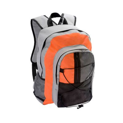 beetrade-gift - Mochila Esporte, em nylon 600 preta com laranja