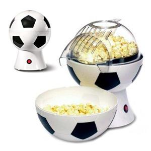 Pipoqueira em forma de bola de futebol que funciona com o sistema de ar quente.