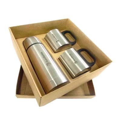 Kit garrafa térmica 350 ml + duas canecas metal - Allury Brindes