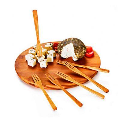 Allury Brindes - Conjunto para queijo e petiscos em bambu