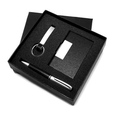 allury-gifts - Conjunto com caneta,chaveiro e porta cartão