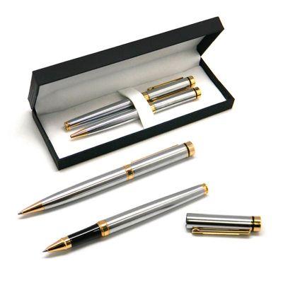 Allury Brindes - Conjunto de canetas metal roller com tampa e girató