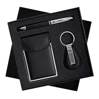 allury-gifts - Conjunto 3 peças caneta, chaveiro e porta cartão