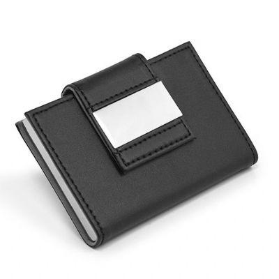 Allury Brindes - Porta cartão em couro sintético com metal