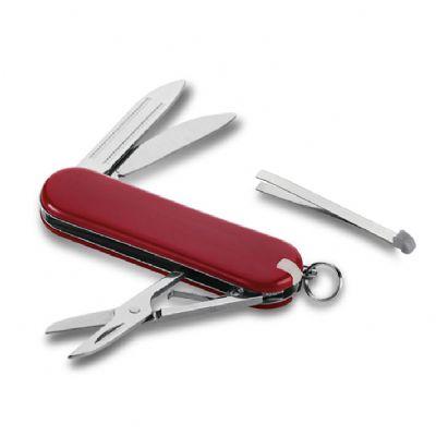 - Produzido em ABS e metal, possui cinco funções sendo: Uma faca, uma tesoura, uma lixa, uma pinça e um mini palito em ABS. Consultar opções de gravação...