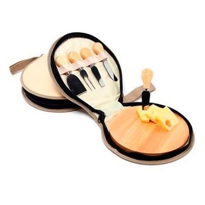 Allury Brindes - Kit queijo 5 peças com estojo e tábua