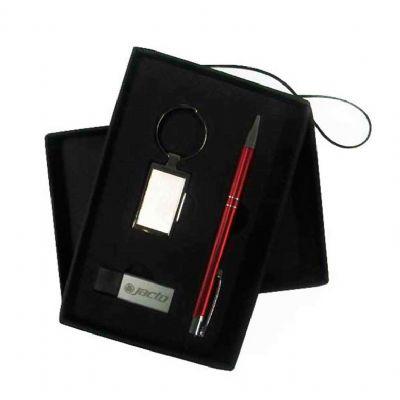 Conjunto Caneta, chaveiro, Pen Drive Prata