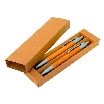 Allury Brindes - Conjunto estojo bambu caneta/lapiseira