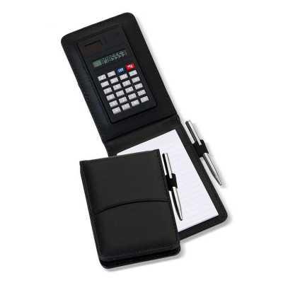 Calculadora Sintético com Bloco e Caneta Personalizada