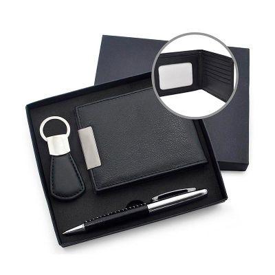 Allury Gifts - Kit escritório com carteira, chaveiro e caneta personalizados.