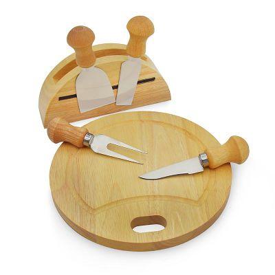 Allury Gifts - Kit queijo com 6 peças. Confeccionado em madeira e aço inox. Contém: uma tábua redonda, um porta guardanapo com imã para fixar os utensílios, duas esp...