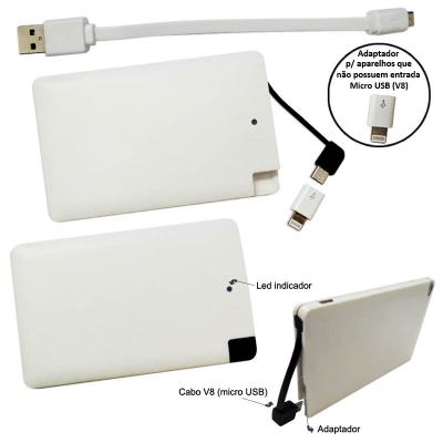 Carregador Power Bank Bateria Cartão Portátil Ultrafino 2500 mAh KIMASTER 1