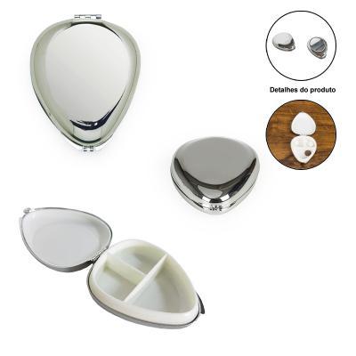 allury-gifts - Porta Comprimido de Metal Formato Oval com 3 Divisórias 1