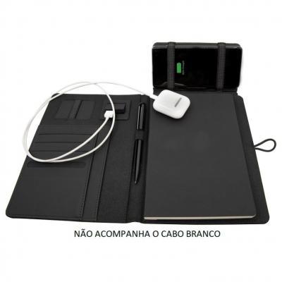 Allury Brindes - Porta Caderno de Anotações com Carregador Power Bank bateria 4000mAh 1
