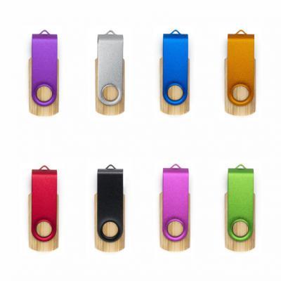 allury-gifts - Pen Drive Giratório Colorido Parte Interna em Bambu 4GB 1