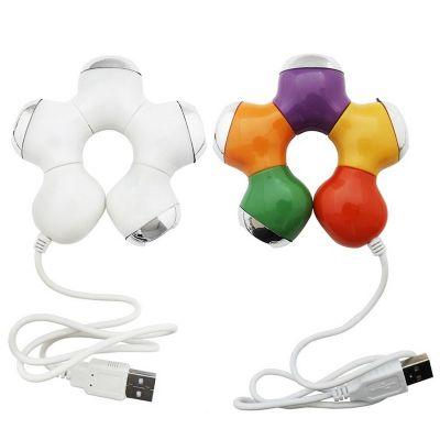 Allury Brindes - Hub formato de estrela colorida USB 2.0 com 4 entradas