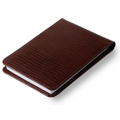 Bloco de anotações em couro lezard marrom.