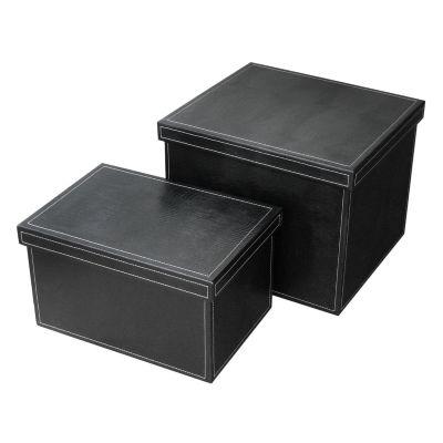 Jogo de caixas organizadoras em couro.