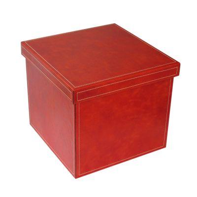 Laeder | Couro - Caixa organizadora em couro vaqueta melancia.