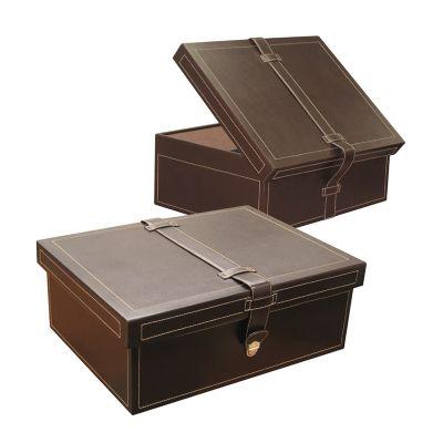 Laeder | Couro - Caixa com fecho em couro marrom.