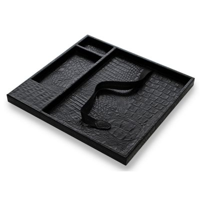 laeder-couro - Caixa organizadora para mesa de reunião em couro.
