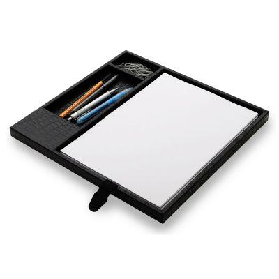 Caixa organizadora para mesa de reunião em couro.