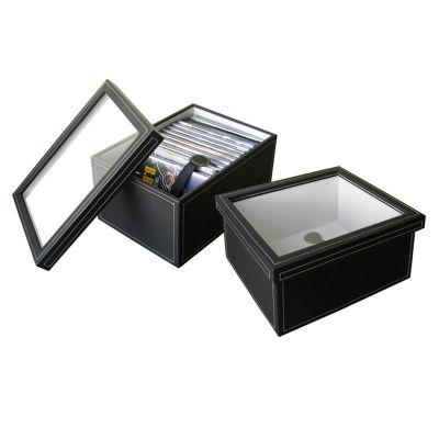 Caixa organizadora porta-DVD em couro preto.