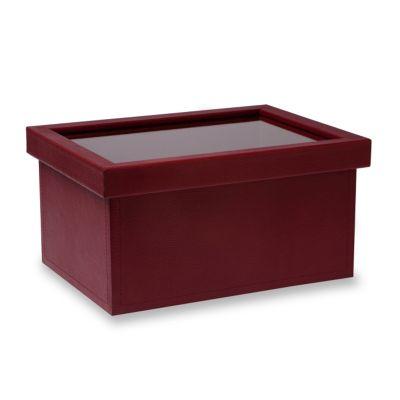 Caixa organizadora porta-DVD em couro vermelho.