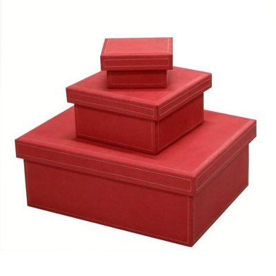 Jogo de caixas organizadoras em couro rosa.