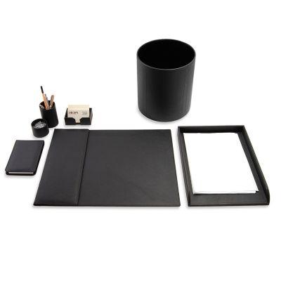 Kit escritório em couro preto.