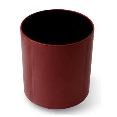 laeder-couro - Lixeira em couro vermelho com costura