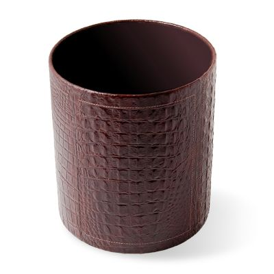 laeder-couro - Lixeira em couro estampa croco marrom.